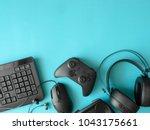 gamer workspace concept  top... | Shutterstock . vector #1043175661