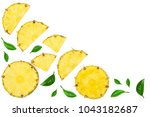 sliced pineapple with leaf...   Shutterstock . vector #1043182687