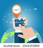 online app for tickets order....   Shutterstock .eps vector #1043192809
