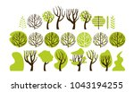 set trees in a flat style.... | Shutterstock .eps vector #1043194255