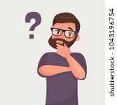 thinking man with question mark.... | Shutterstock .eps vector #1043196754