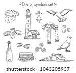 vector coloring book breton... | Shutterstock .eps vector #1043205937