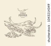 chilli pepper  a piece of hot... | Shutterstock .eps vector #1043214349