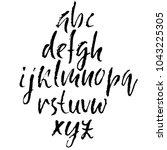 handdrawn dry brush font.... | Shutterstock .eps vector #1043225305