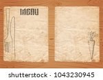 menu of restaurant on old paper ... | Shutterstock .eps vector #1043230945