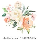 watercolor flowers. floral... | Shutterstock . vector #1043236435