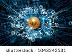 bitcoin cryptocurrency with... | Shutterstock . vector #1043242531