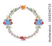 spring flower wreath vector | Shutterstock .eps vector #1043244715