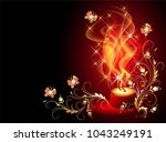 burning candle with mysterious... | Shutterstock .eps vector #1043249191