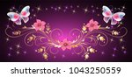 floral ornament with magic... | Shutterstock .eps vector #1043250559
