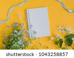 mockup notebook with blue and... | Shutterstock . vector #1043258857