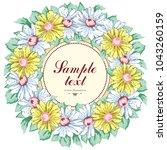 wreath of chamomile flowers ... | Shutterstock .eps vector #1043260159