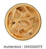 Small photo of Top view of coffee latte cappuccino with ice in glass isolated on white background, clipping path included