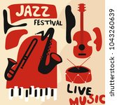 jazz music festival poster with ... | Shutterstock .eps vector #1043260639