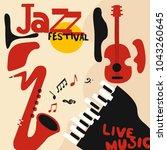 jazz music festival poster with ...   Shutterstock .eps vector #1043260645
