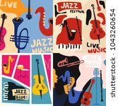 set of music cards and banners. ... | Shutterstock .eps vector #1043260654