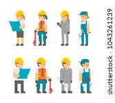 flat design building workers... | Shutterstock .eps vector #1043261239