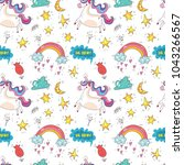seamless pattern with cute... | Shutterstock .eps vector #1043266567