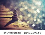 inner peace and balance  pile... | Shutterstock . vector #1043269159