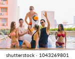 multi ethnic group of friends... | Shutterstock . vector #1043269801