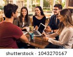 group of friends studying... | Shutterstock . vector #1043270167