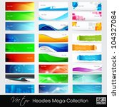 Stock vector colorful shiny banners or website headers with abstract wave and circle concept eps vector 104327084