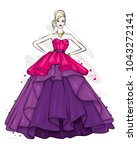 a tall  slender girl in a... | Shutterstock .eps vector #1043272141