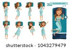 sleeping woman set. many views... | Shutterstock .eps vector #1043279479
