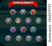 set of colorful game designing...