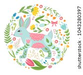 illustration with rabbit and...   Shutterstock .eps vector #1043280397