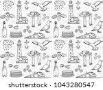 hand drawn breton symbols... | Shutterstock .eps vector #1043280547