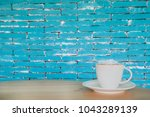 coffee espresso on wood table... | Shutterstock . vector #1043289139