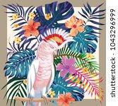 exotic bird parrot ara on the... | Shutterstock .eps vector #1043296999