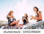group of young women friend...   Shutterstock . vector #1043298604