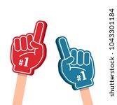 bright colorful foam fingers... | Shutterstock .eps vector #1043301184