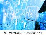 quantum super computer future... | Shutterstock . vector #1043301454