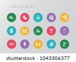 set of 15 editable folks icons. ... | Shutterstock . vector #1043306377