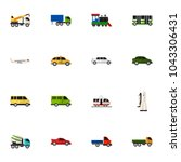 set of 16 editable car icons... | Shutterstock .eps vector #1043306431