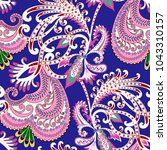 seamless pattern with  paisley  ... | Shutterstock .eps vector #1043310157