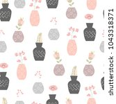 seamless pattern with flowers... | Shutterstock .eps vector #1043318371