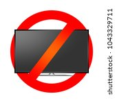 red prohibition sign with lcd...   Shutterstock .eps vector #1043329711