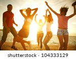 happy young teens dancing at... | Shutterstock . vector #104333129