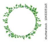 illustration. wreath of parsley ... | Shutterstock . vector #1043335165