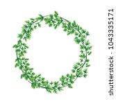 illustration. wreath of parsley ... | Shutterstock . vector #1043335171