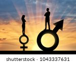 silhouette of a big man and a... | Shutterstock . vector #1043337631