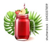 realistic smoothie mason glass... | Shutterstock .eps vector #1043337859