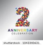 2nd anniversary design logotype ... | Shutterstock .eps vector #1043340631
