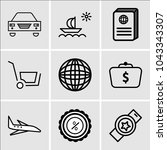 set of 9 simple editable icons... | Shutterstock .eps vector #1043343307