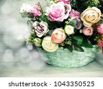 peony flowers bush floral... | Shutterstock . vector #1043350525