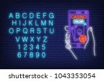 casino online neon sign.... | Shutterstock .eps vector #1043353054